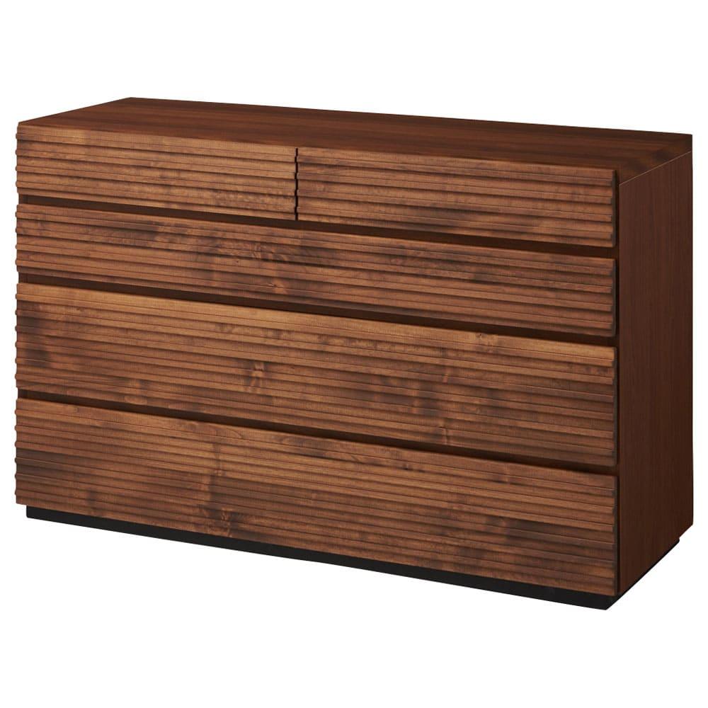 天然木横格子柄のローチェスト 幅120cm・4段 商品画像 引き出し閉めた状態