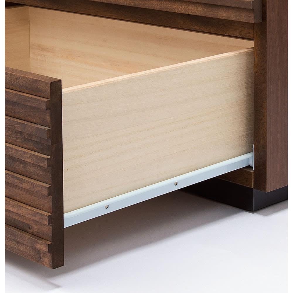 天然木横格子柄のローチェスト 幅120cm・4段 スライドレール付き(最上段除く)