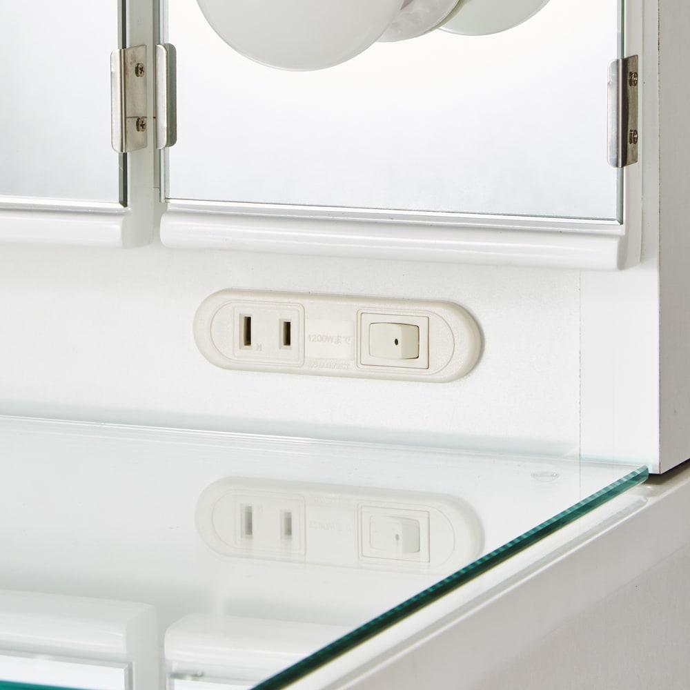 LEDライト付きドレッサーシリーズ ドレッサー(スツール付き) 幅80cm・高さ137cm ミラー下にLEDライトのスイッチとコンセント付き。