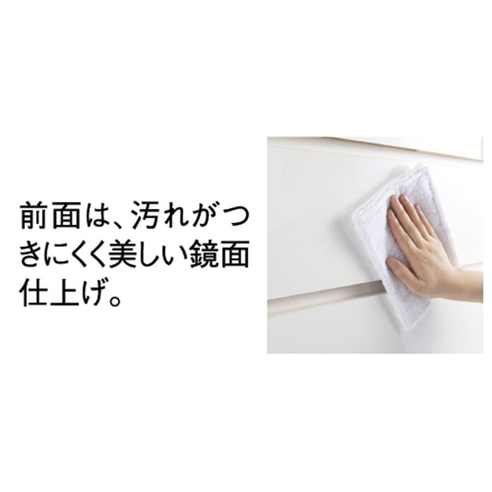 【日本製】奥行50cm隠しキャスター付きクローゼットチェスト 幅100cm・4段 前面は光沢仕上げ