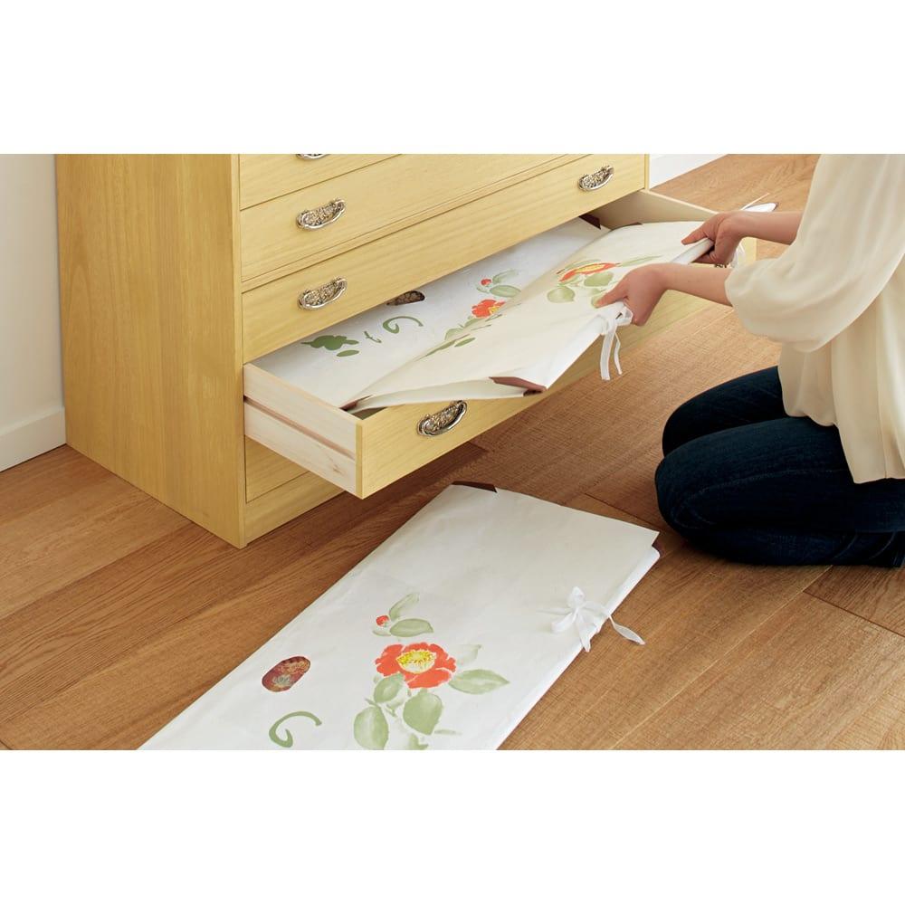 【本格派の着物収納】総桐着物収納ユニットタンス 6段 高さ74.5cm たとう紙をスッキリ収納。引き出し1段あたり、たとう紙が3枚入ります。