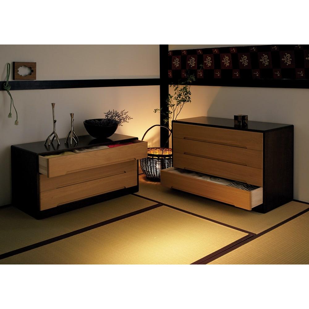 【日本製】総桐モダンクローゼットチェスト 5段 高さ79cm ※写真は3段タイプ、4段タイプの組み合わせ見本です。