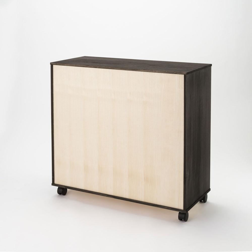 【洗練されたモダンデザイン】バイカラー総桐モダンチェスト 6段 幅100cm・高さ110cm 裏面。 ※写真は5段タイプ・幅100cm・高さ93.5cmです。