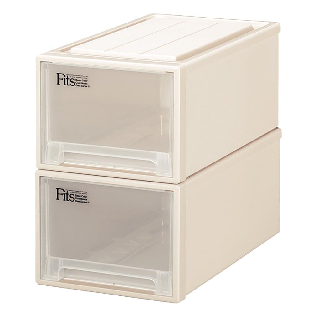 Fits フィッツ収納ケース クローゼットタイプ 奥行53cm 幅30cm 高さ23cm 2個組 (ア)カプチーノ(アイボリー系) 同色2個組でお届けします。