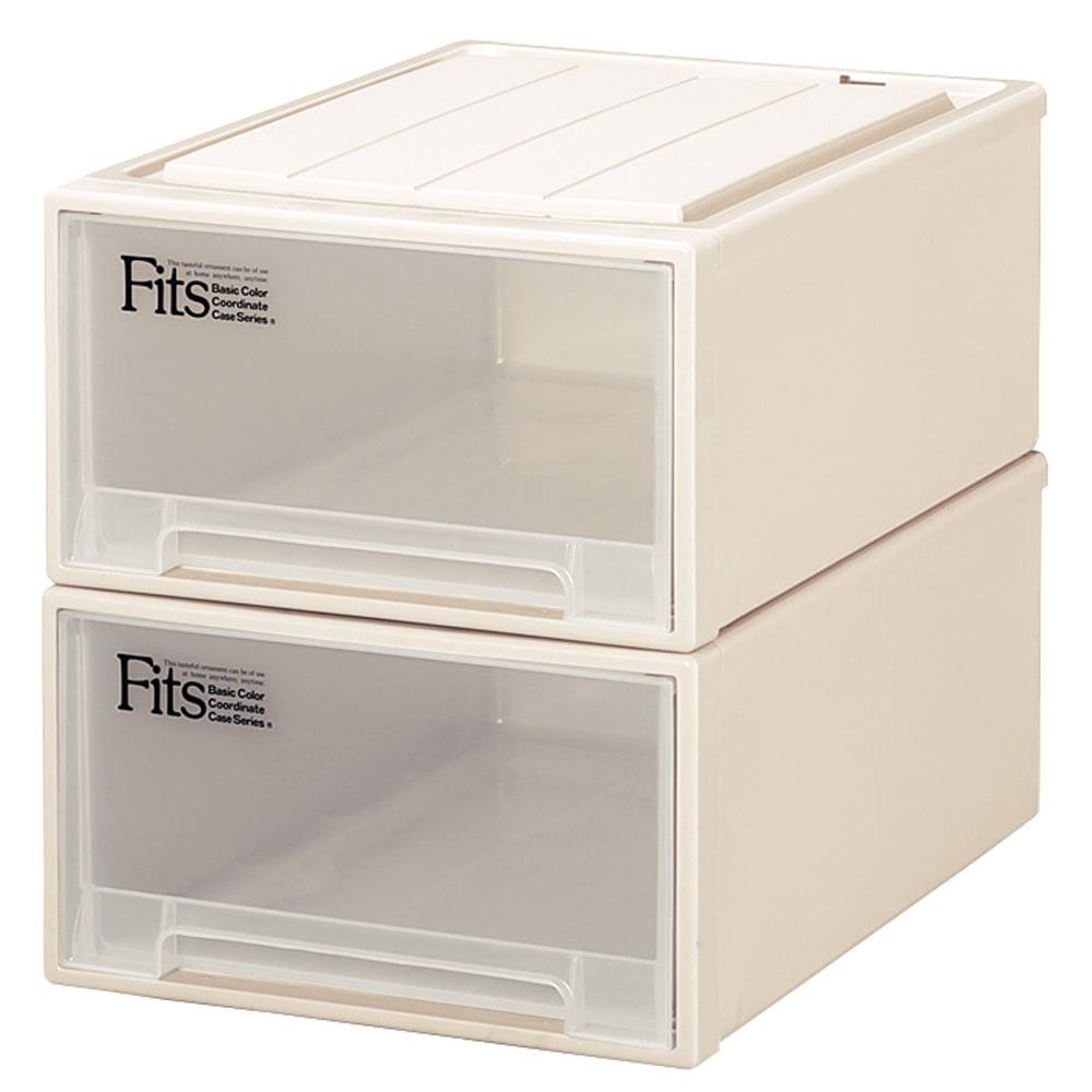 Fits フィッツ収納ケース クローゼットタイプ 奥行53cm 幅39cm 高さ23cm 2個組 (ア)カプチーノ(アイボリー系) 同色2個組でお届けします。