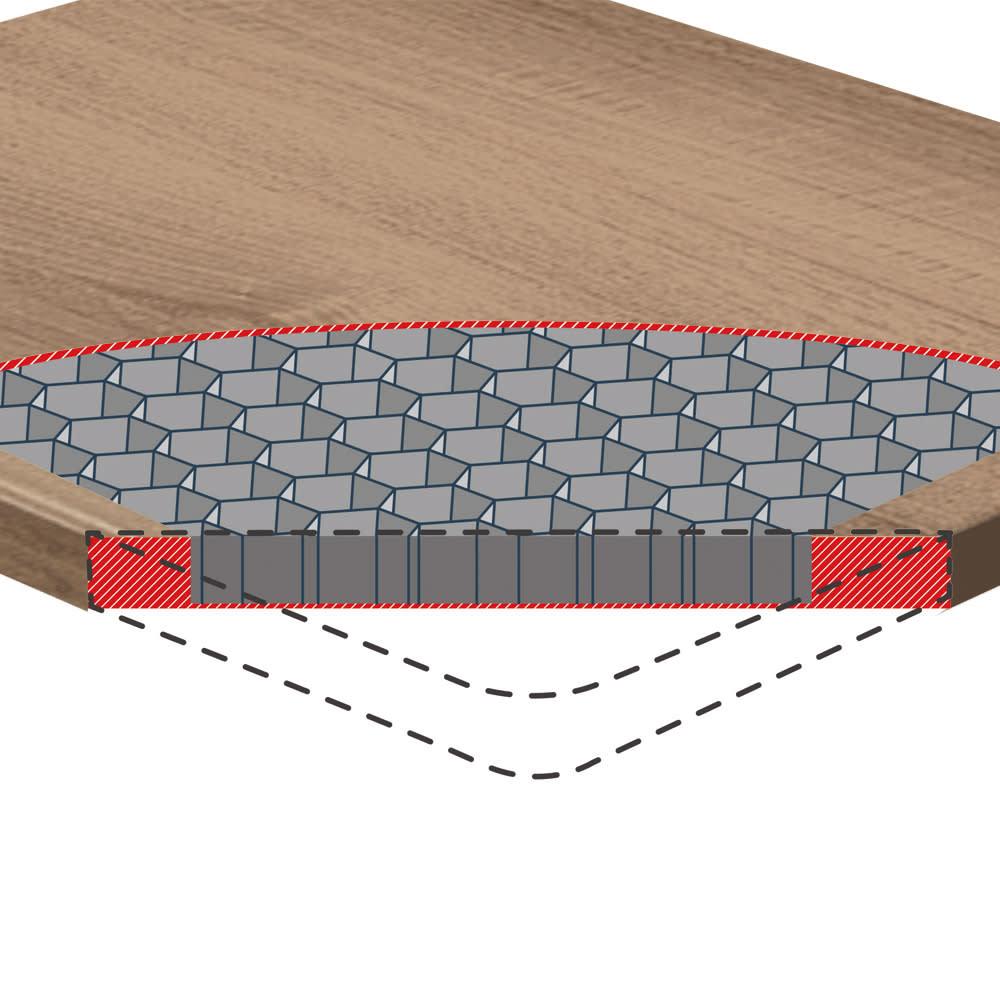 フィッツプラスメッシュ 幅75高さ66cm・3段 天板内部は強度に優れたハニカム構造。