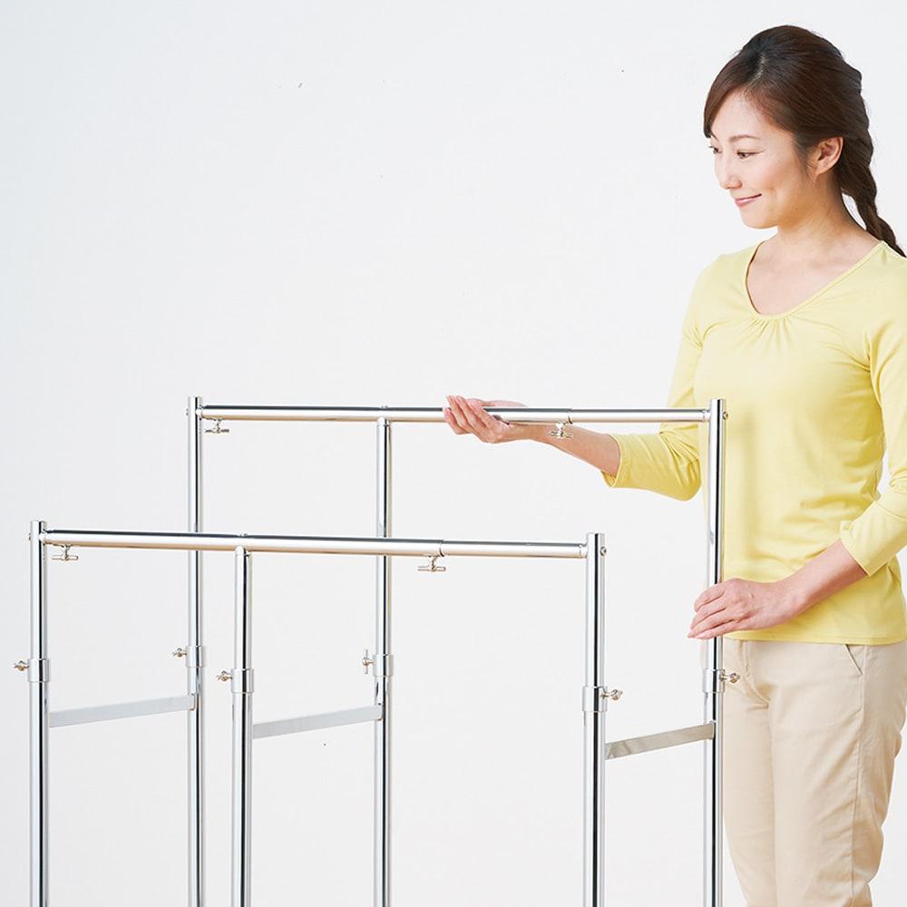 幅と高さが変えられる 伸縮式頑丈押し入れハンガー 一間用 幅110~180cm 幅も高さもつまみひとつで簡単に調節できます。