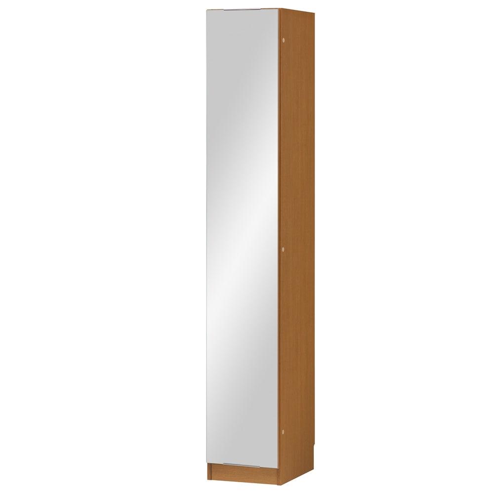 インテリアに合わせて8色&13タイプから選べるシューズボックス ミラー扉(左開き) 幅30高さ180.5cm (オ)ミディアムオーク木目