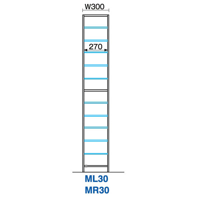 インテリアに合わせて8色&13タイプから選べるシューズボックス ミラー扉(左開き) 幅30高さ180.5cm 詳細図(単位:mm)