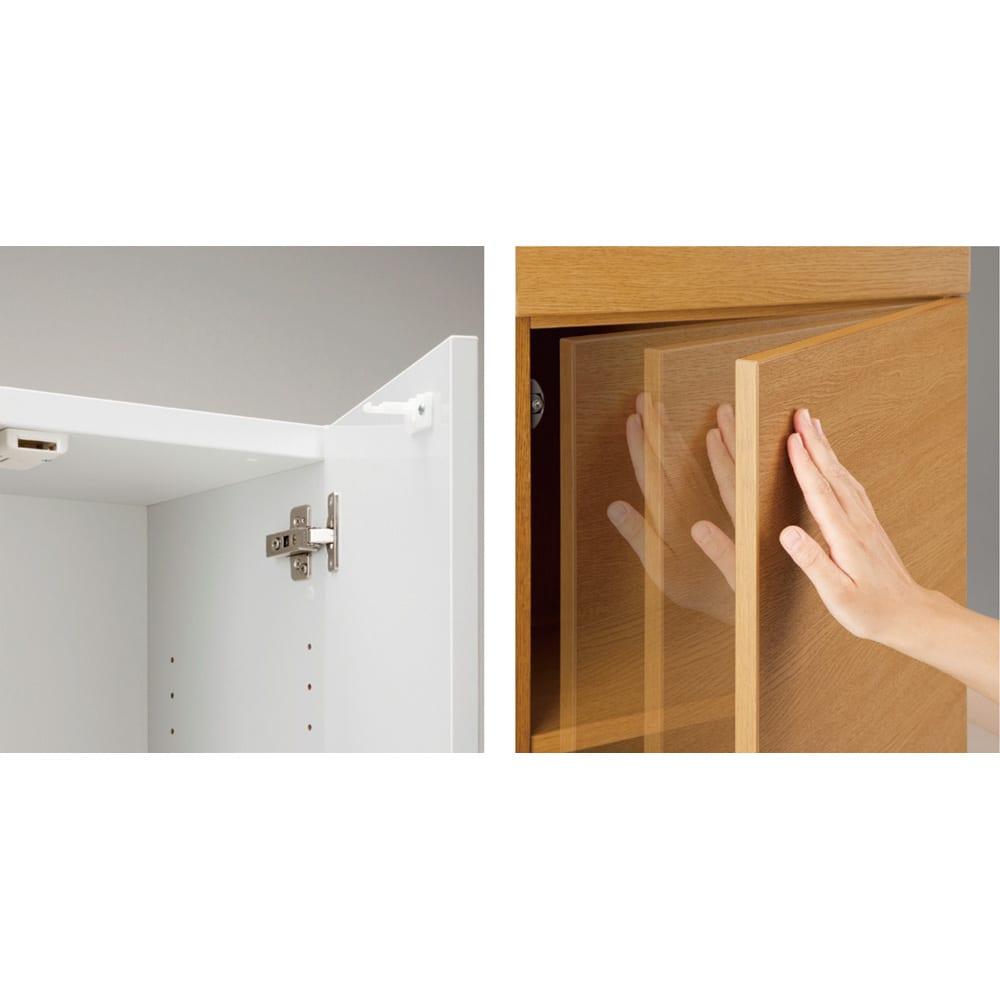 インテリアに合わせて8色&13タイプから選べるシューズボックス オープン 幅60高さ180.5cm [写真右]耐震ラッチが扉を自動的にロックします。[写真左]軽く押すだけで扉はスムーズに開閉します。