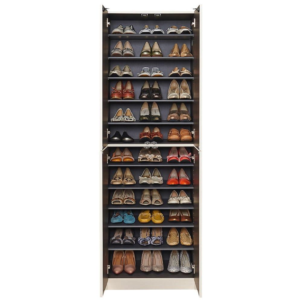 インテリアに合わせて8色&13タイプから選べるシューズボックス 扉 幅60高さ180.5cm 収納目安:約36足
