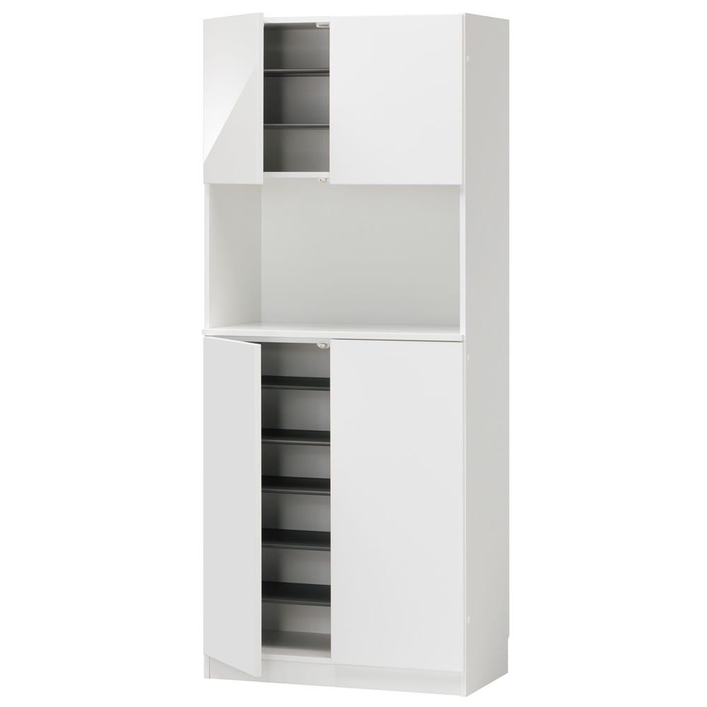 インテリアに合わせて8色&13タイプから選べるシューズボックス オープン 幅75高さ180.5cm (ア)ホワイト