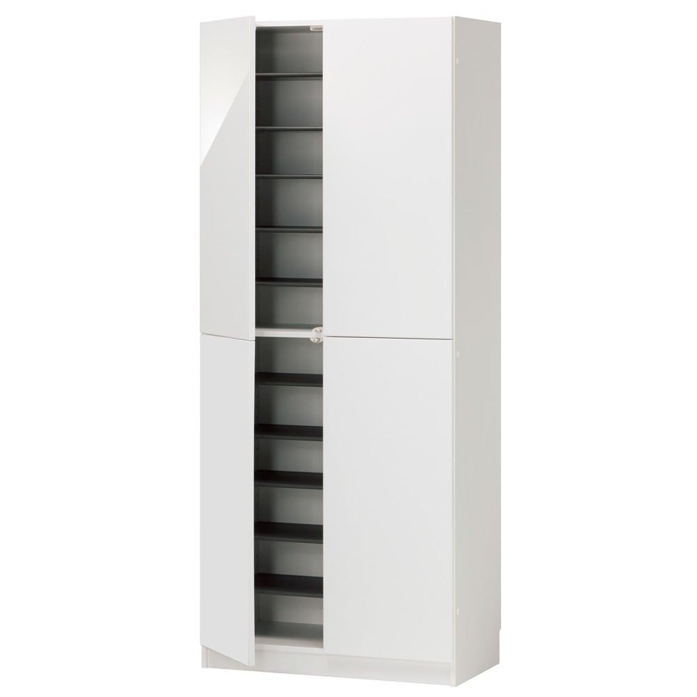 インテリアに合わせて8色&13タイプから選べるシューズボックス 扉 幅75高さ180.5cm (ア)ホワイト