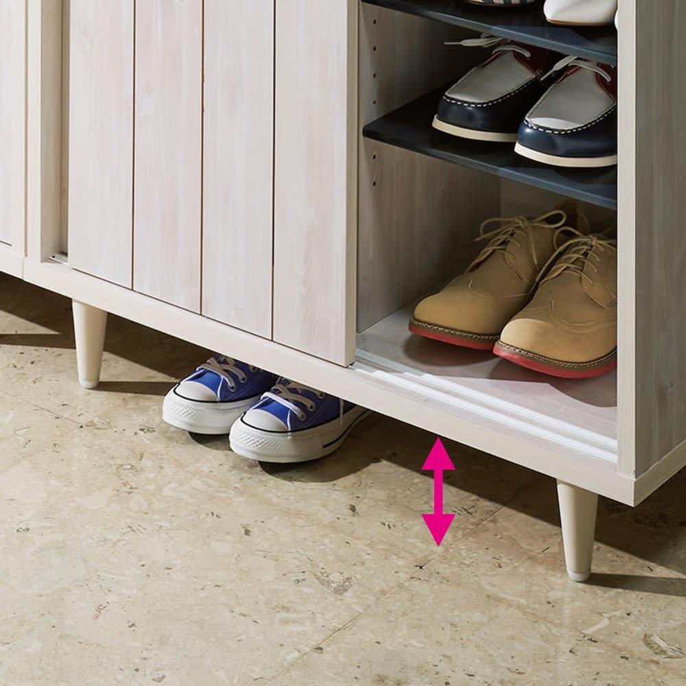 ヴィンテージ調シューズボックス 幅120cm 高さ101cm 靴が置けて掃除もラクな11cmの脚部スペース。