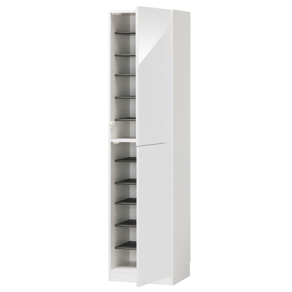 インテリアに合わせて8色&13タイプから選べるシューズボックス 扉 幅45高さ180.5cm(右開き) (ア)ホワイト