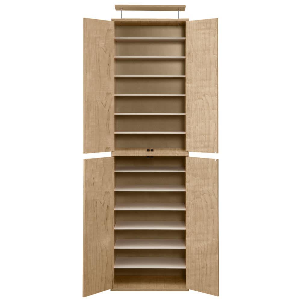 並べても使える 突っ張り式ユニットシューズボックス 天井高さ214~224cm用・幅60cm[紳士靴対応] (イ)ライトブラウン色見本 可動棚板は全部で12枚です。