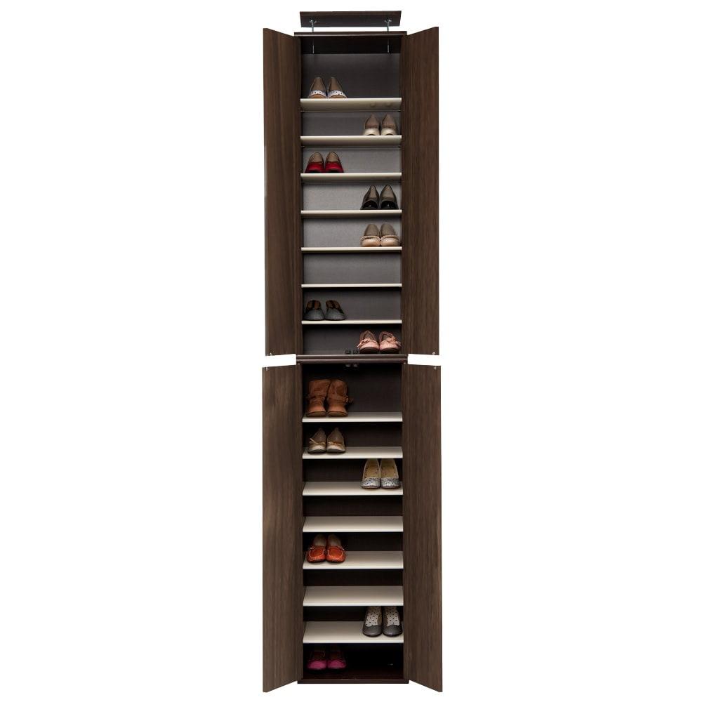 並べても使える 突っ張り式ユニットシューズボックス 天井高さ254~264cm用・幅45cm[紳士靴対応] (ア)ダークブラウン ※写真は幅45高さ264~274cmタイプです。