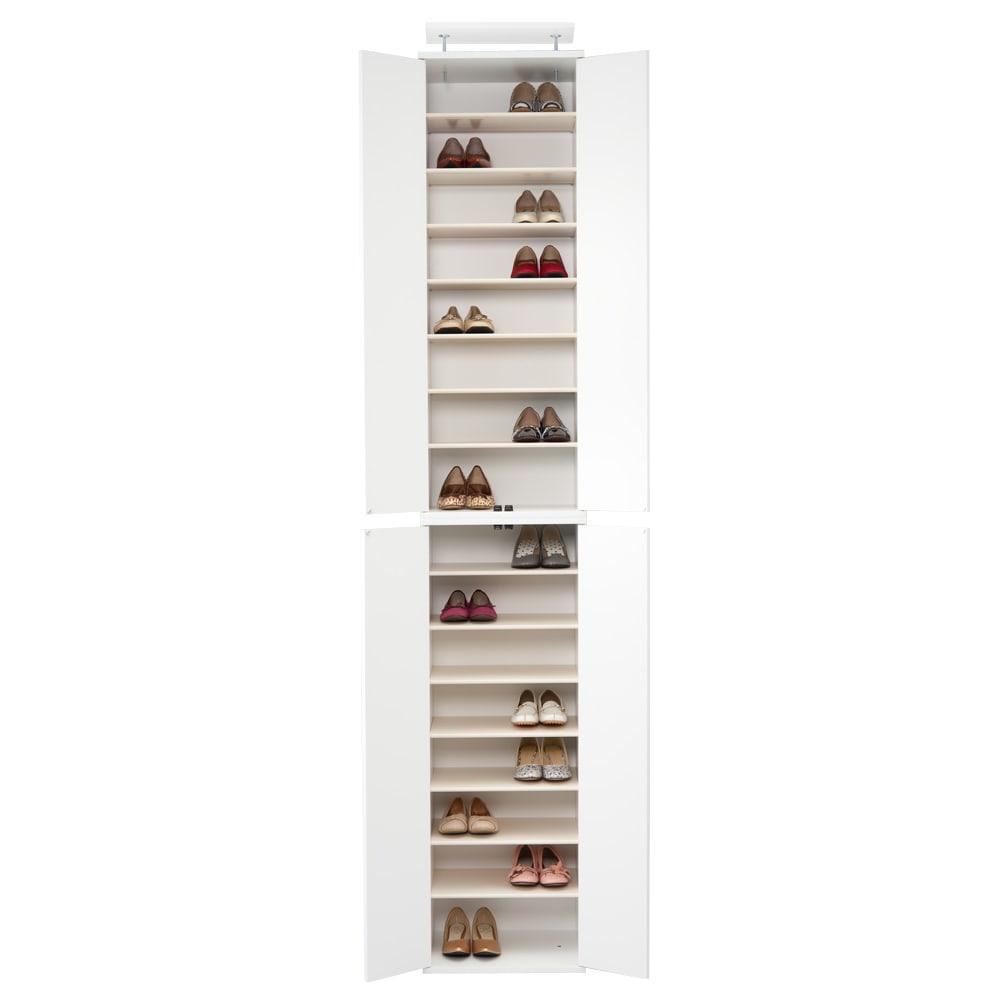 並べても使える 突っ張り式ユニットシューズボックス 天井高さ254~264cm用・幅60cm[紳士靴対応] (ウ)ホワイト 棚板は全部で14枚です。 写真は幅45高さ254~264cmタイプです。