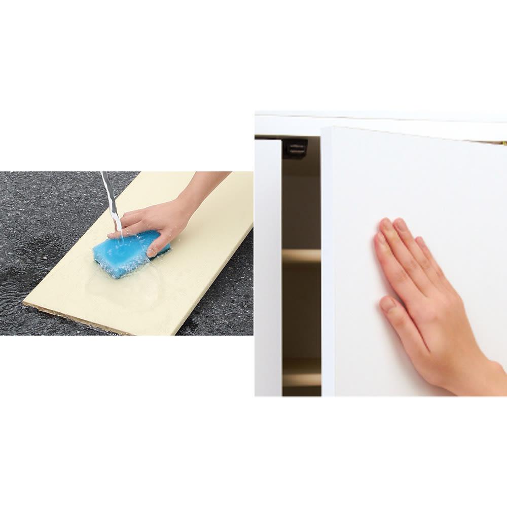 並べても使える 突っ張り式ユニットシューズボックス 天井高さ254~264cm用・幅60cm[紳士靴対応] (写真左)可動棚板は取り外して水洗いのできるプラスチック製。清潔に保てます。(写真右)扉には取っ手のないシンプルなデザイン。扉はプッシュ式開閉です。