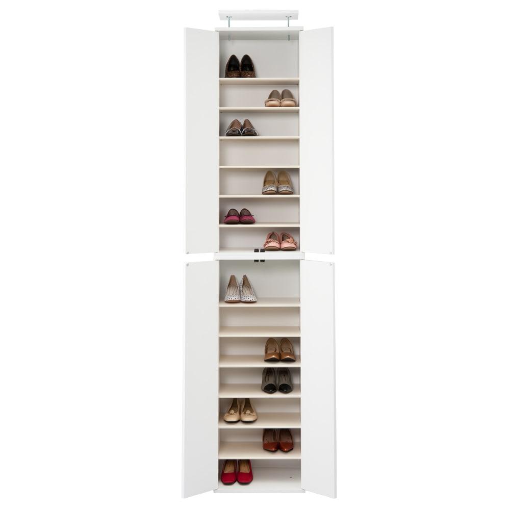 並べても使える 突っ張り式ユニットシューズボックス 天井高さ264~274cm用・幅45cm[紳士靴対応] (ウ)ホワイト色見本 写真は幅45高さ234~244cmタイプです。
