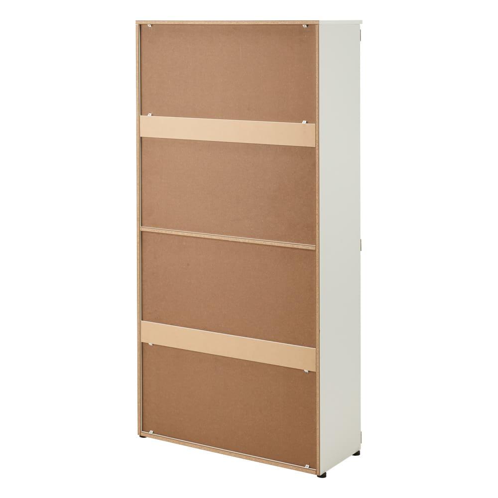 棚板たっぷり大容量シューズボックス 幅90cm (イ)ホワイト 背面