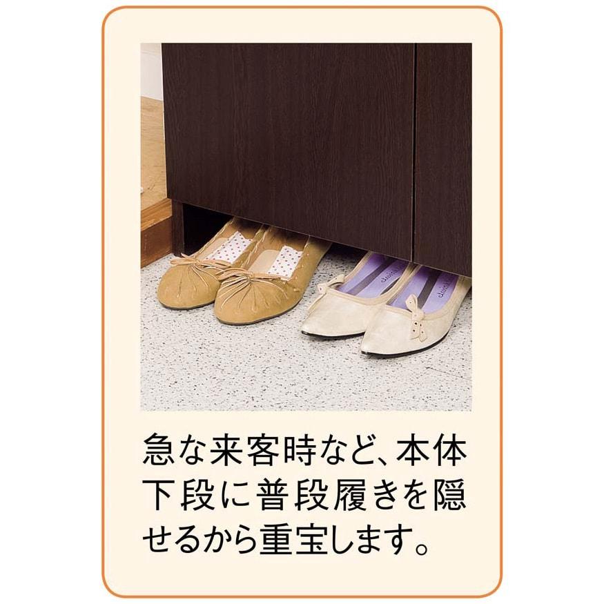 シンプルラインシューズボックス ミドルタイプ(高さ110cm) 幅75cm 下部にはささっと隠せる収納があります。
