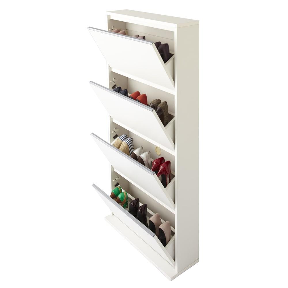 静かに閉まる薄型フラップシューズボックス シングル4段 幅70cm (ア)ホワイト 収納足数は約12足です。