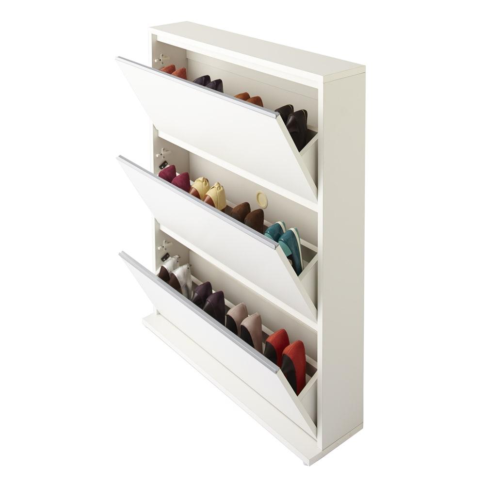 静かに閉まる薄型フラップシューズボックス シングル3段 幅90cm (ア)ホワイト 収納足数は約12足です。