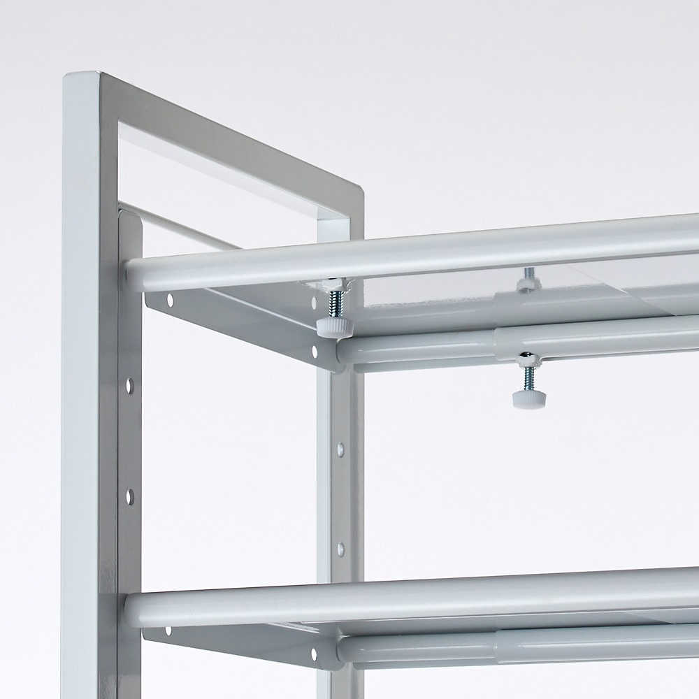 玄関の段差対応伸縮シューズラック 突っ張り式 11段 つまみで簡単に伸縮できます。