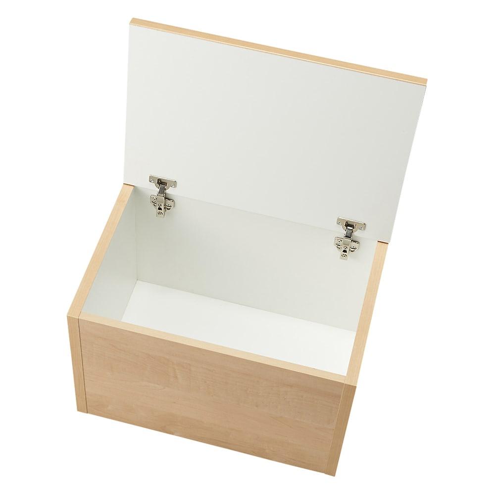 耐荷重100kg!収納庫付ベンチ ボックス・幅60奥行41cm 収納庫内部は化粧されており、収納物にもやさしいつくり。