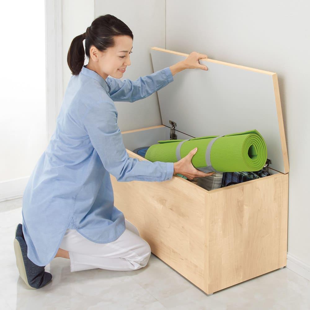 耐荷重100kg!収納庫付ベンチ ボックス・幅90奥行41cm 【ボックスタイプ】たっぷり収納!ヨガマットやアウトドア用品などかさばるものもラクに入ります。