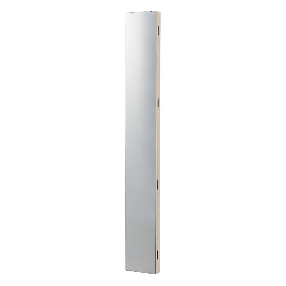 壁掛けなのに角度が変えられる 玄関ミラー (姿見) 幅20cm・高さ120cm (ア)ホワイト ※写真は高さ150cmタイプです。お届けは高さ120cmタイプになります。