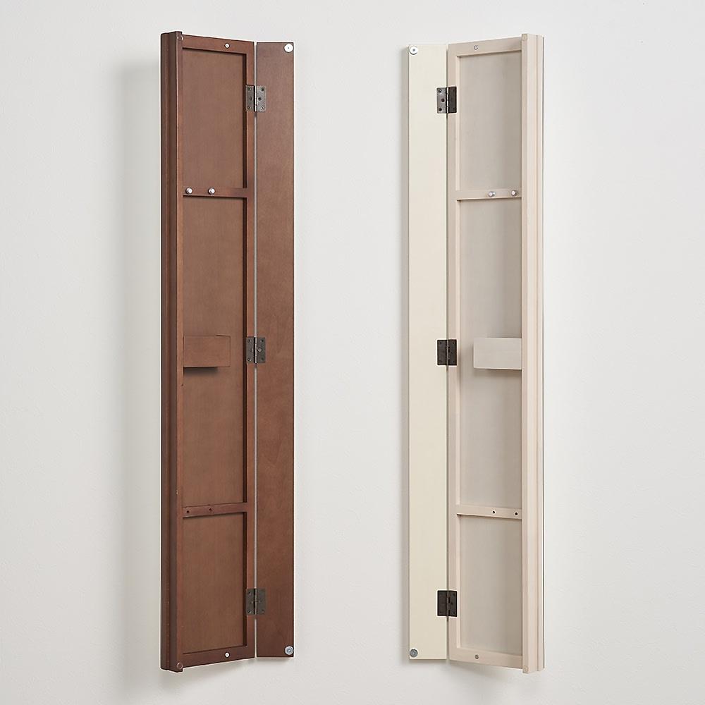 壁掛けなのに角度が変えられる 玄関ミラー (姿見) 幅20cm・高さ120cm ミラーは左右どちら開きにも設置可能。
