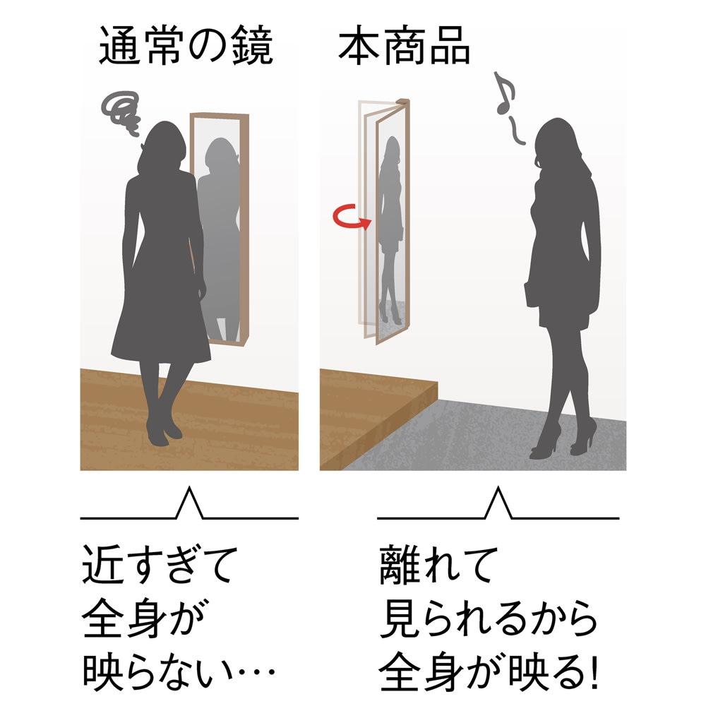 壁掛けなのに角度が変えられる 玄関ミラー (姿見) 幅20cm・高さ150cm ミラーが180度開いて角度を変えられるので、狭い廊下に設置しても離れて見られるため、全身を映すことができます。