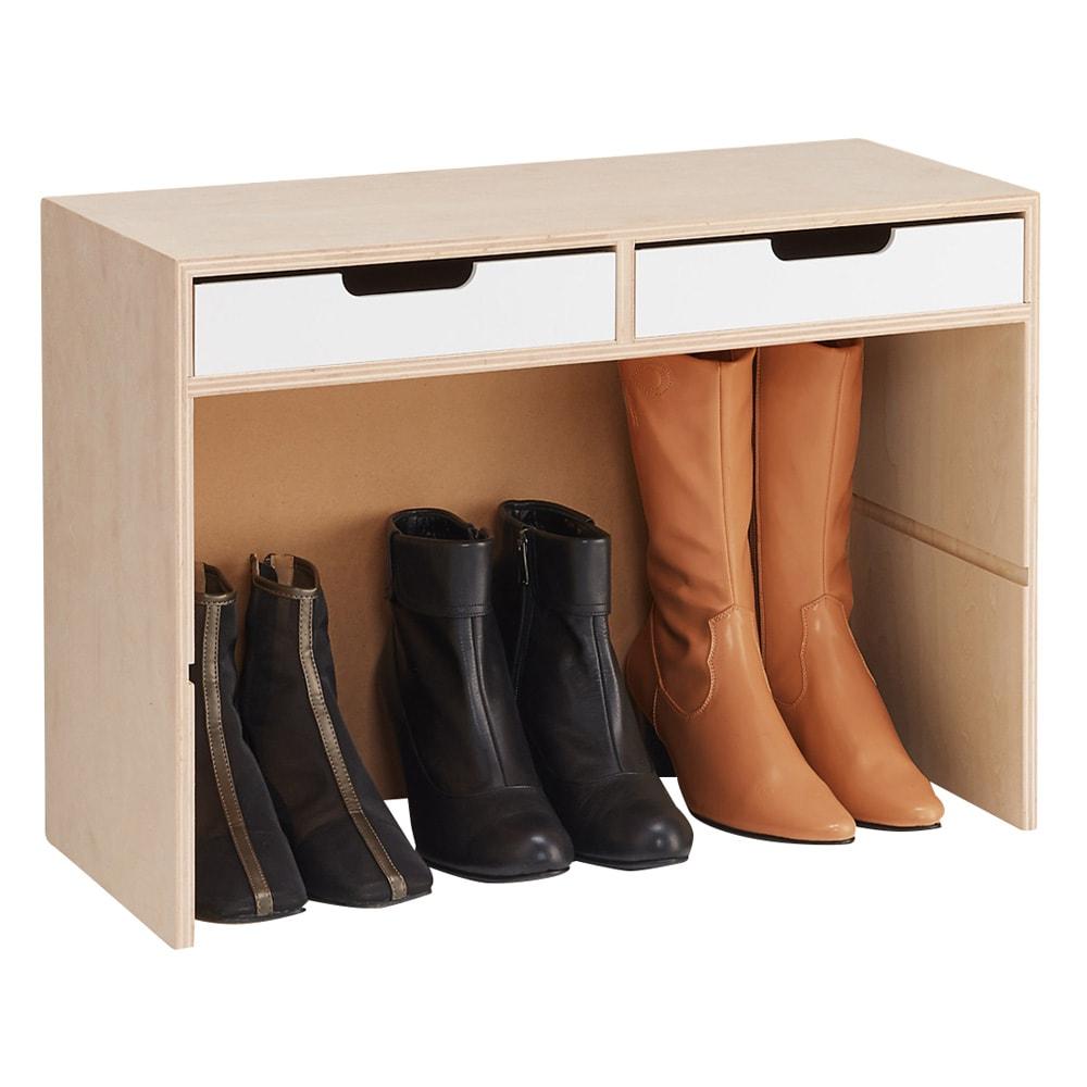 小物引き出し付き 玄関ベンチ スツール  幅60cm 奥行25cm 高さ42cm (ア)ホワイト 棚板をはずせばブーツも収納できます。