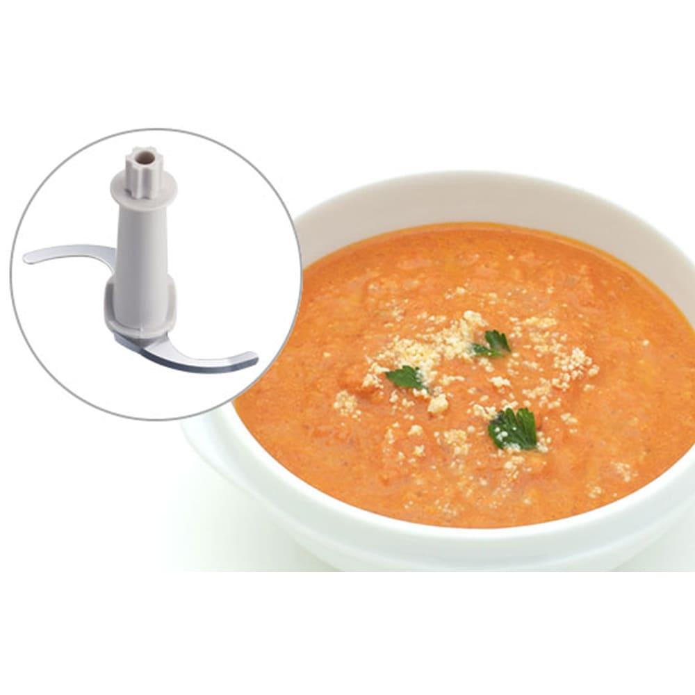 ステンレスボトルのフードプロセッサー イメージ例:液漏れしにくいので、スープやドレッシングなども