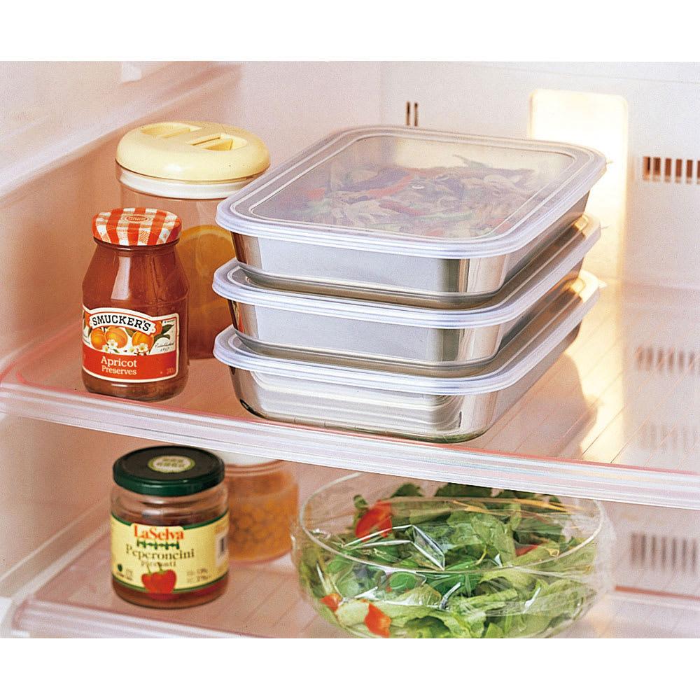 ステンレス製 パパッと揚げ物バット11点セット(お得なフルセット) 蓋付きなので、重ねて冷蔵庫での保存容器としても便利。