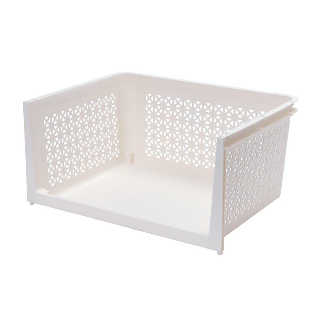 積み重ねオープン収納3段(キャスター付き) (ア)ホワイト