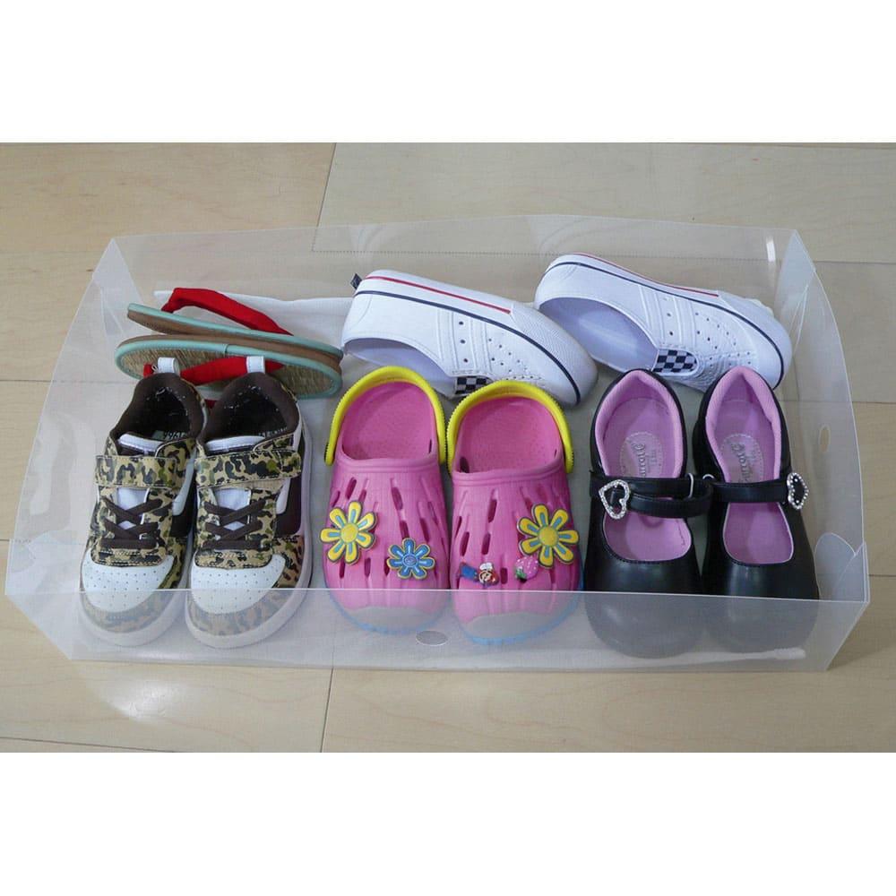 靴・ブーツ収納クリアケース(シリカゲルシート付き) 子供用の靴ならこんなにタップリ。