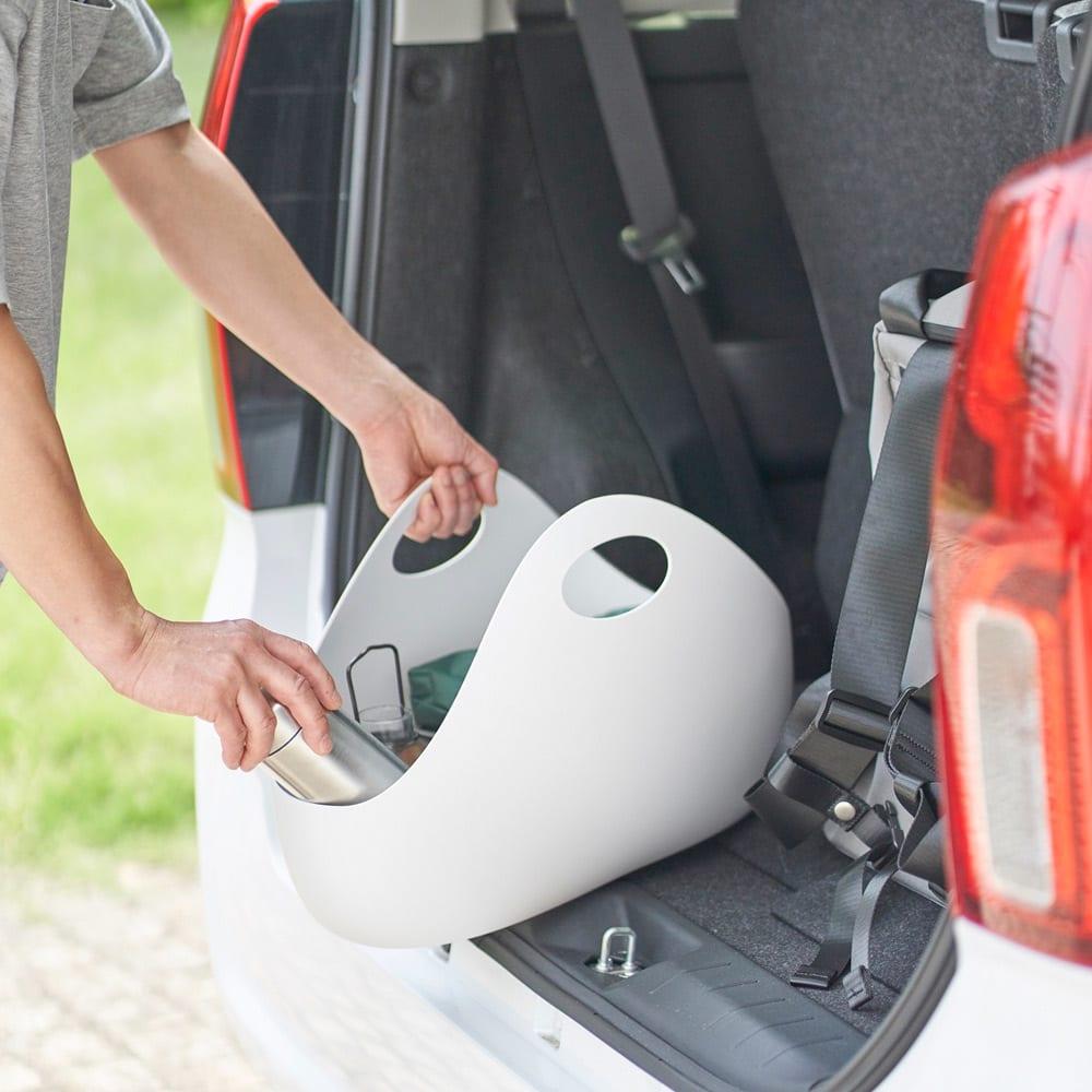 ENOTS/エノッツ インテリアバッグ バスケット 1個 (ア)ホワイト 車に積んで、ショッピングバッグとしても。