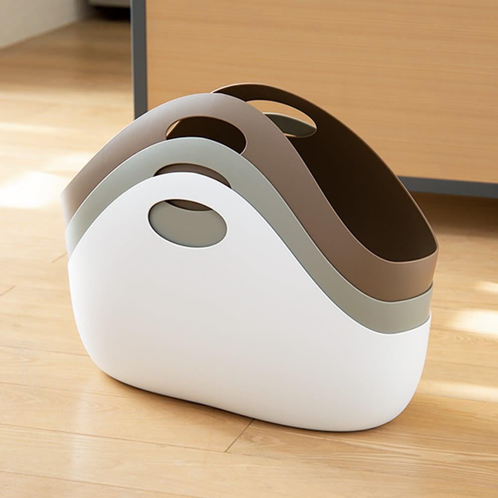 ENOTS/エノッツ インテリアバッグ バスケット 1個 重ねてもかさばりにくい、特殊な形状です。