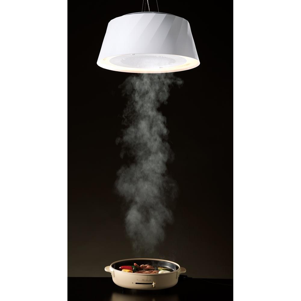 PT(ニオイ・油・煙を吸うLEDダイニングライト クーキレイ) ホワイト/ブラック LEDライト・LED電球
