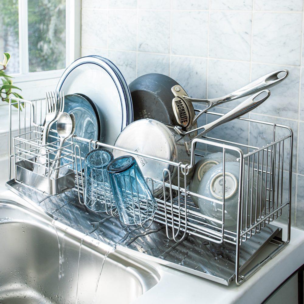 キッチン 家電 キッチン収納 水切り 水切りかご ラック オールステンレス製 シンクに渡せる水切り スリムロング ハイタイプ 542105