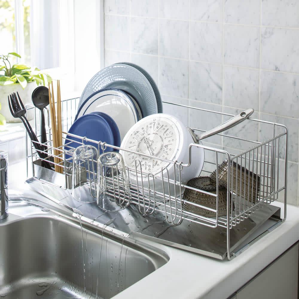 キッチン 家電 キッチン収納 水切り 水切りかご ラック オールステンレス製シンクに渡せる水切り NEWレギュラー ハイタイプ 542106