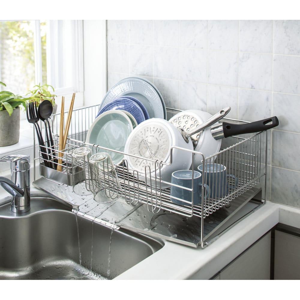キッチン 家電 キッチン収納 水切り 水切りかご ラック オールステンレス製シンクに渡せる水切り NEWワイド ハイタイプ 542107