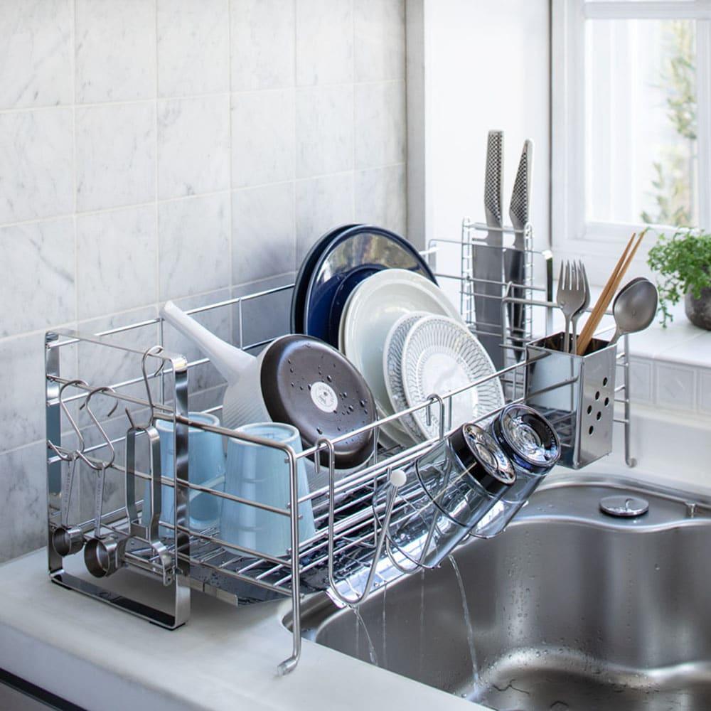 キッチン 家電 キッチン収納 水切り 水切りかご ラック 使いやすくなったスライド水切り 1段 542220