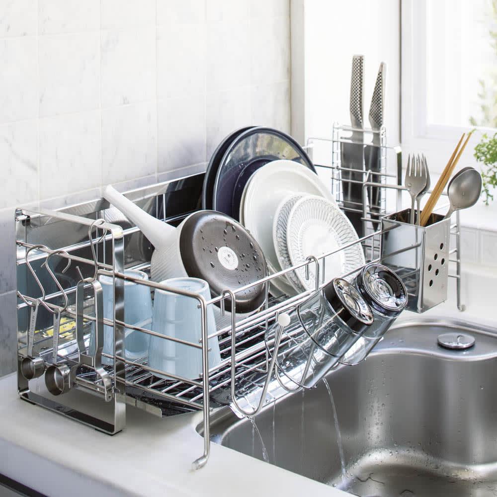 キッチン 家電 キッチン収納 水切り 水切りかご ラック 使いやすくなったスライド水切り 1段 水はねガード付き 542221