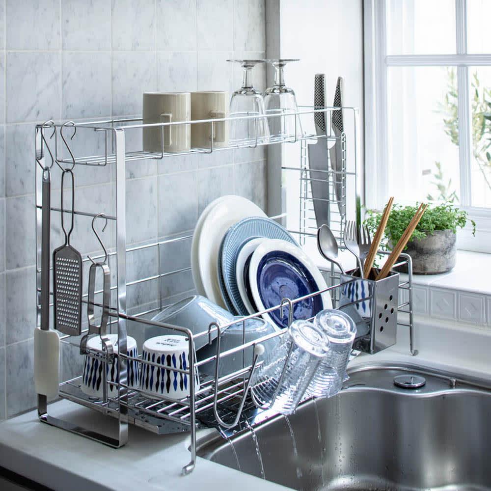 キッチン 家電 キッチン収納 水切り 水切りかご ラック 使いやすくなったスライド水切り 2段 542222