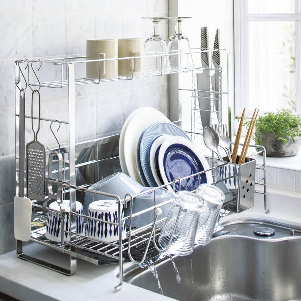 キッチン 家電 キッチン収納 水切り 水切りかご ラック 使いやすくなったスライド水切り 2段 水はねガード付き 542223