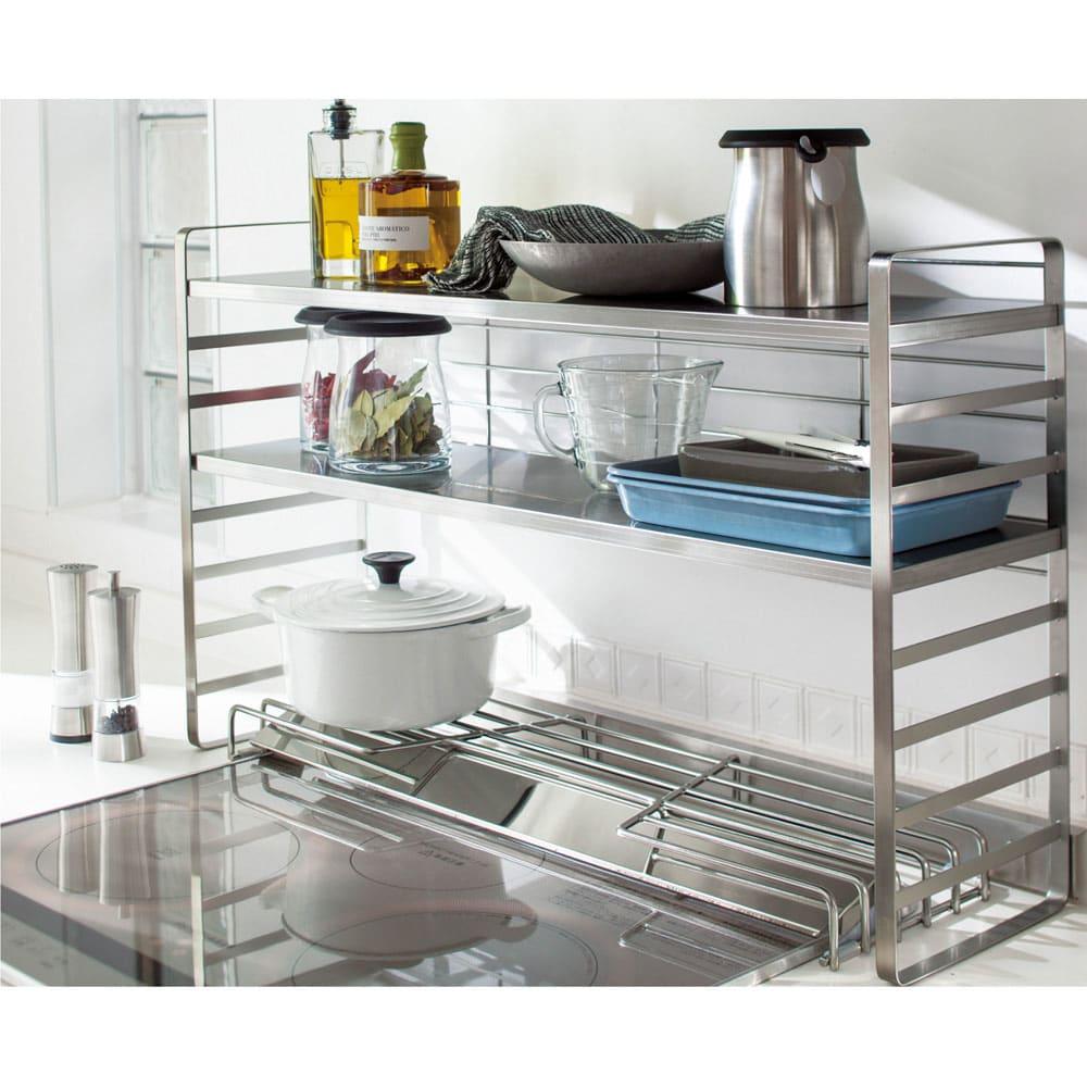 キッチン 家電 キッチン収納 水切り シンク下 コンロまわり収納 出窓にも使える頑丈ステンレスラック 幅75 542402